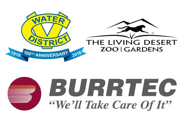 CVWD, The Living Desert and Burrtec logos