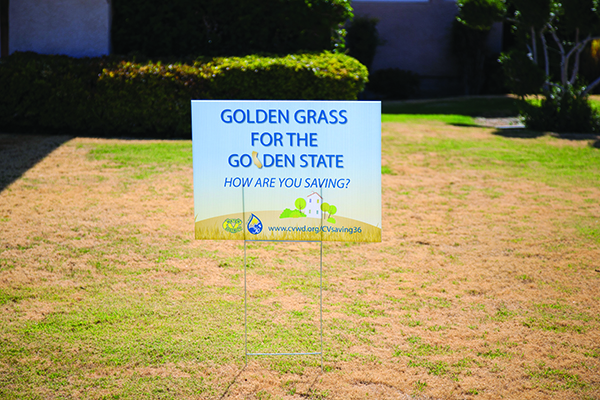 Gold grass yard sign