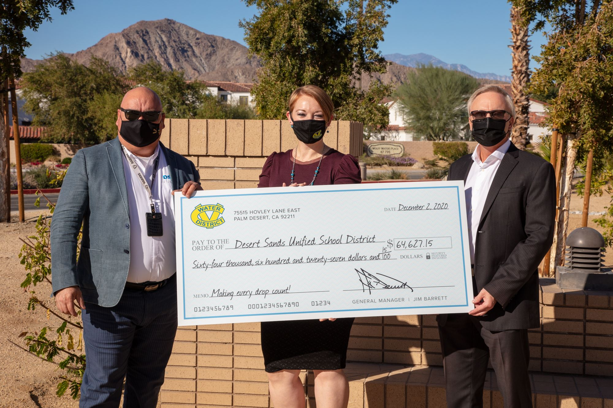 Conservation Rebate Check to Desert Sands Unified School District